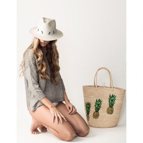 tote, beach, summer, pineapples, hat