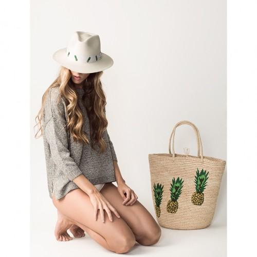 tote, beach, summer, pineapples, hat