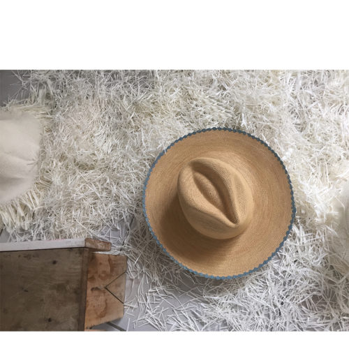Scalloped blue straw hat