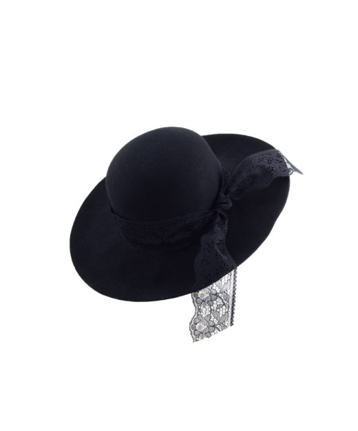 Black Floppy Wool Felt Hat with black lace trim by G.VITERI