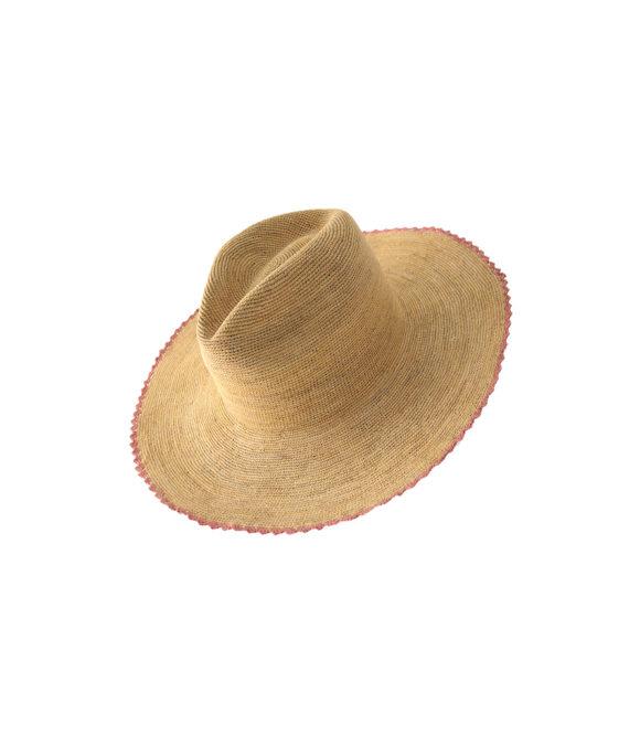 Scalloped Pink Wide Brim Hat