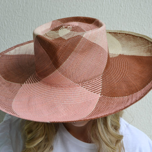 Pink and Brown Wide Brim Hat