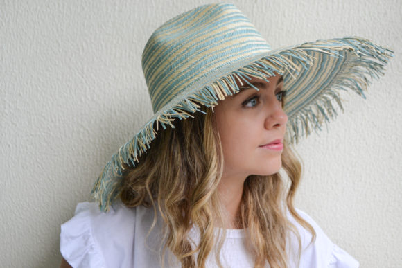Sky Blue and Natural Stripes Hat