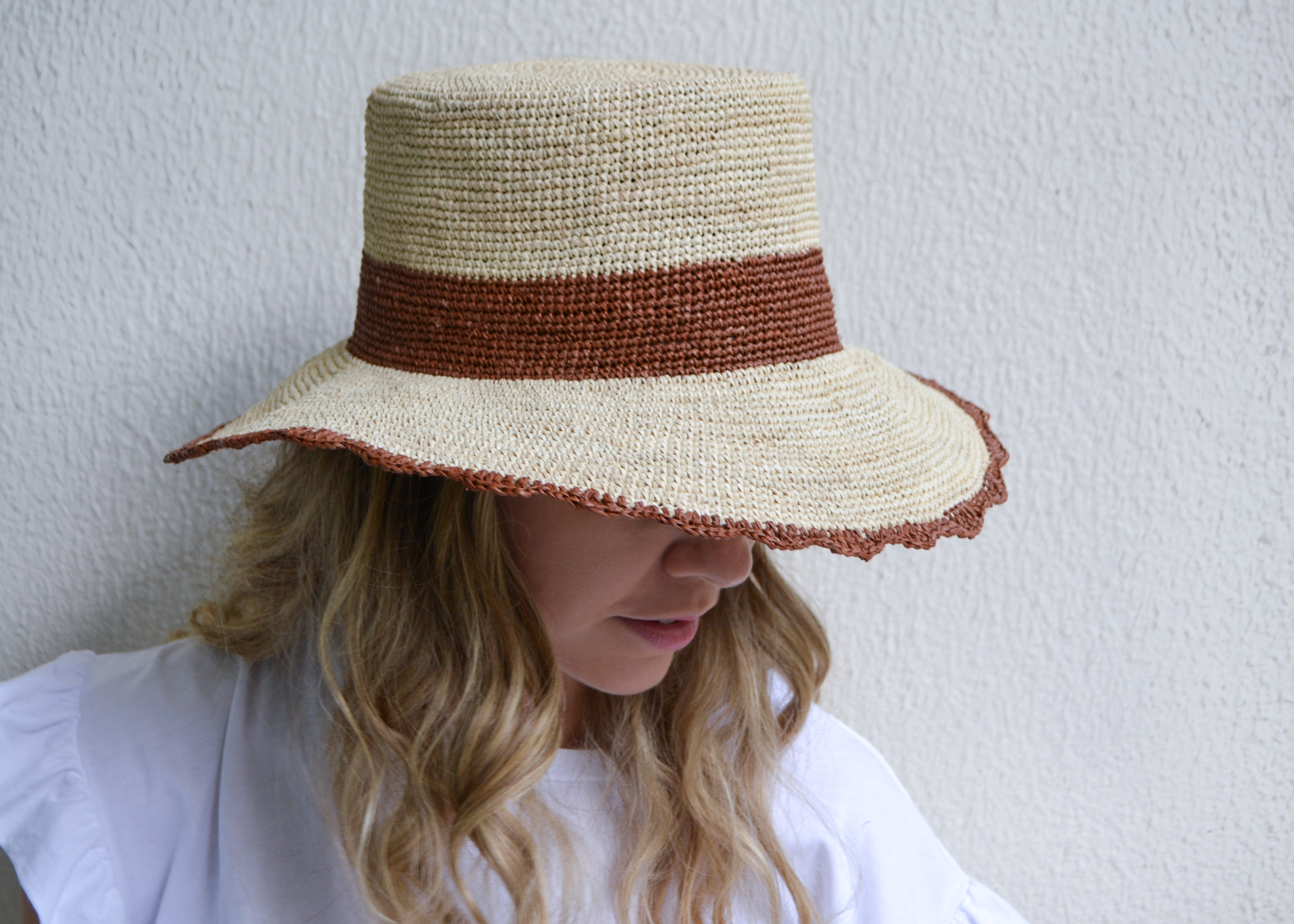 Montanita Crochet Bucket Sun Hat With Scalloped Brim By G Viteri