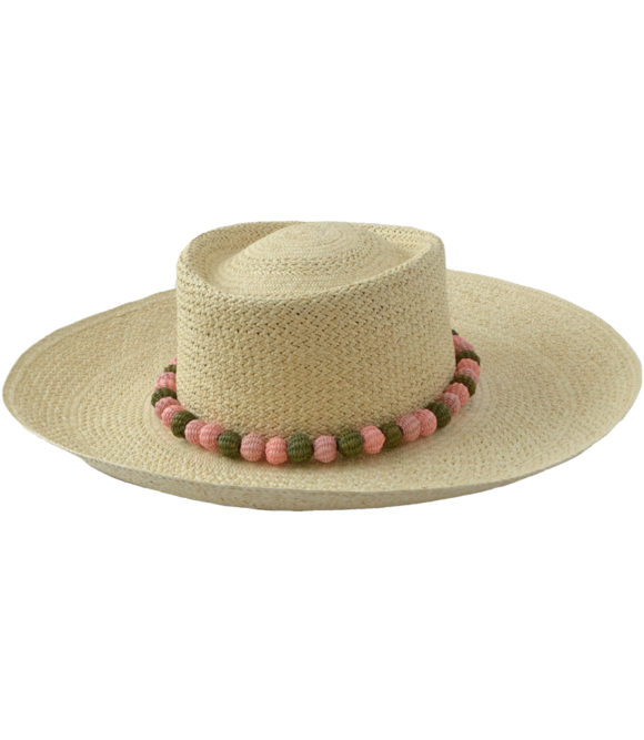 Natural hat with olive and pink poms