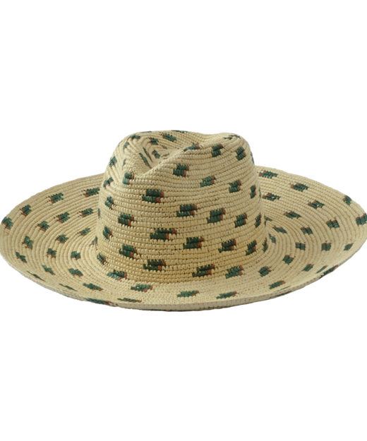Wide brim hat with green and brown details