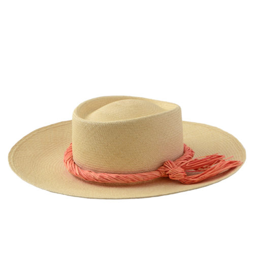 Natural hat with melon trim
