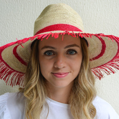 Red and Natural Frayed Sun Hat