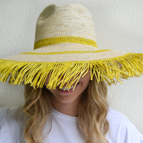 Yellow and Natural Frayed Sun Hat