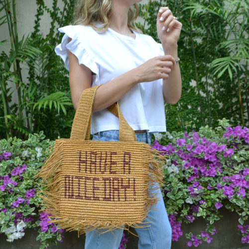 Have a nice day straw bag