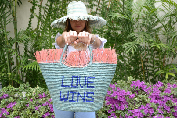 Baby Blue Crochet Straw Tote with Love Wins phrase