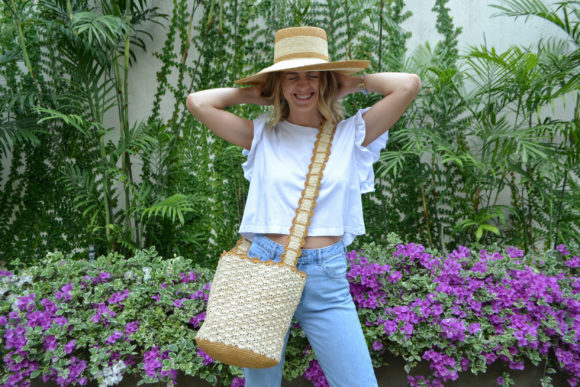 Crochet Soft Straw Bag in Natural with Camel details