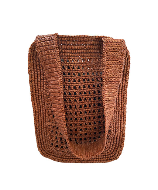 Pile Brown cutout straw tote