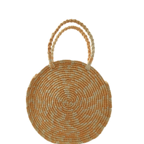 Round Crochet Bag in Camel and Natural