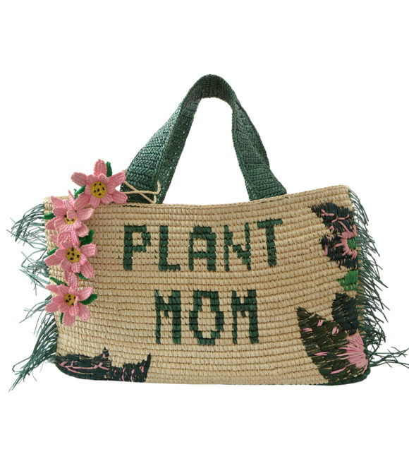 Plant Mom Straw tote with Green plant details