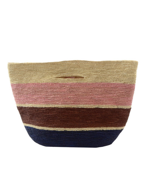Crochet Soft Straw Bag with Stripes