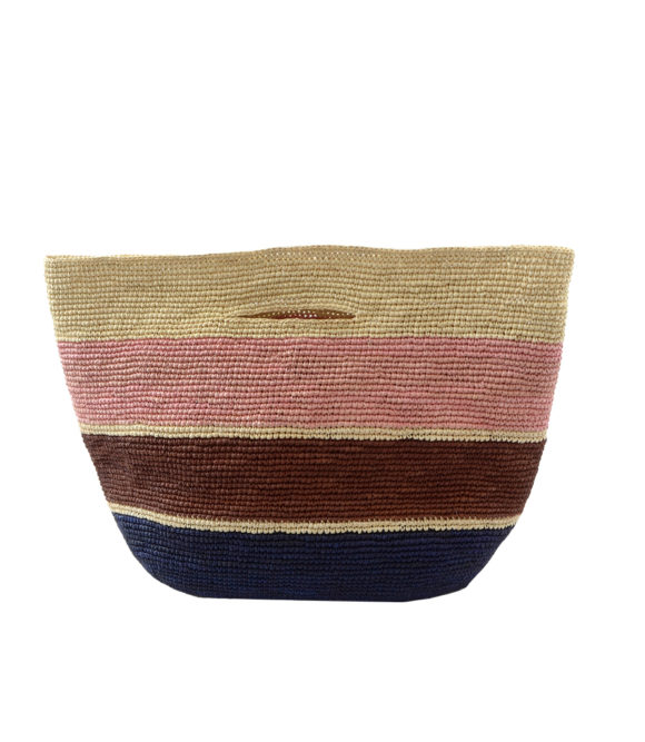 Crochet Soft Straw Bag with Stripes