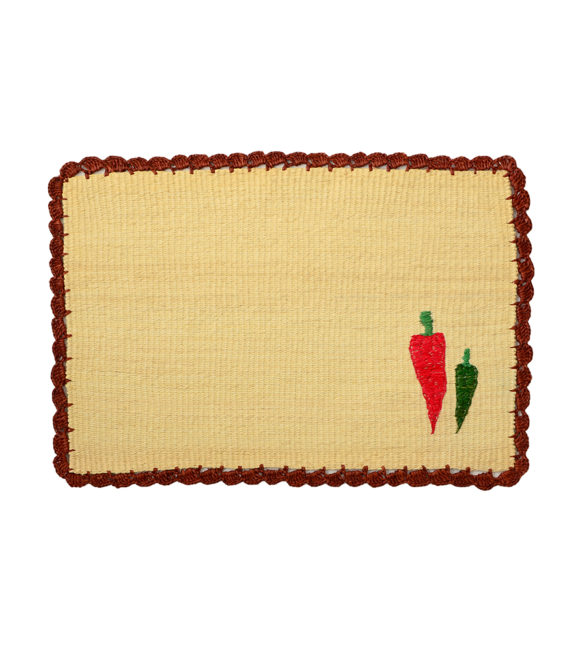 Straw placemat with handwoven chili peppers