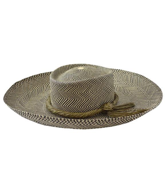 Wide brim sun hat with olive trim